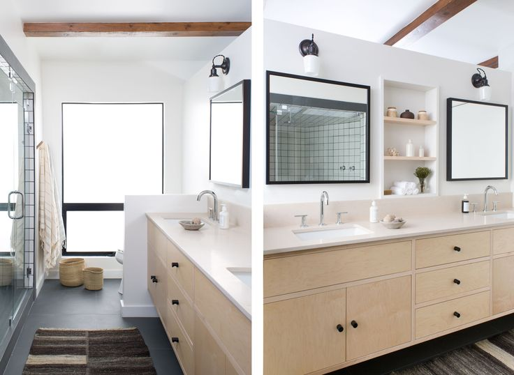 note the partial wall simo design in los angeles midcentury remodeled bathroom remodelista