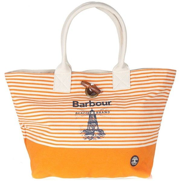 Women's Barbour Beacon Beach Bag - Marigold / Ecru (2,990 THB) ❤ liked on Polyvore featuring bags, handbags, wooden purse, white handbags, nautical purse, nautical bag and barbour bag