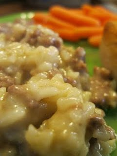 Ingredients:  1 lb Hamburger (or ground turkey)  1 Med. Onion (chopped)  1 can Cream of Mushroom Soup  1 can Cream of Chicken Soup  1 can of Water  1/2 cup Uncooked Rice    Brown the hamburger & onion with lots of salt & pepper.   Add water, soups and rice.   Mix together.  Transfer into a casserole dish...  Bake at 350 for 45 minutes to 1 hour.  *I bake for 1 hour
