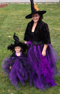 halloween hexen kostüme mutter tochter lila tutu röcke spitzhüte