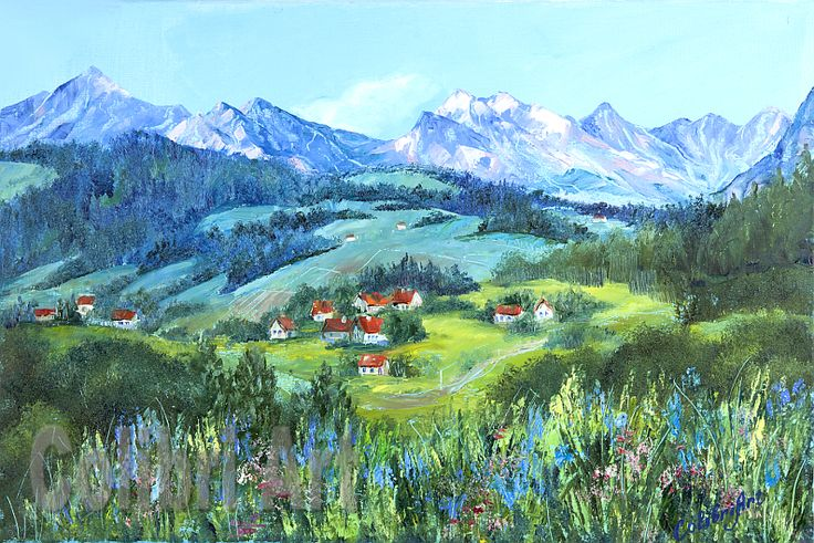 "Author's reproduction (giclee) of Original Handmade Oil Painting ""Mountain valley"" 16"" x 24"" on Canvas Multicolor by Colibri Art   Materials: canvas on stretcher, oil paints, palette knife Prints  Giclée  interior  impressionism  gift  present  house  village  forest  nature  flowers summer  grass  landscape  prints on fabric"