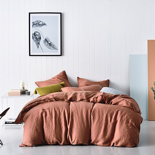 Vintage Washed Linen Quilt Cover Terracotta  Styling Bek Sheppard Photography Derek Swalwell