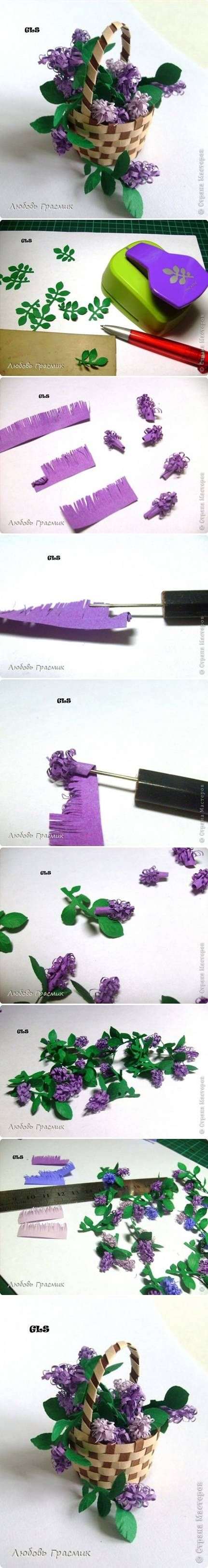 DIY Paper Lilac Flower#tutorial #images#steps#pretty#decor#gift#centerpiece#love this# +++FLORES LILAS EXPLICACIONES IMAGENES PASO A PASO MANUALIDAD DECORACION CENTRO DE MESA REGALO