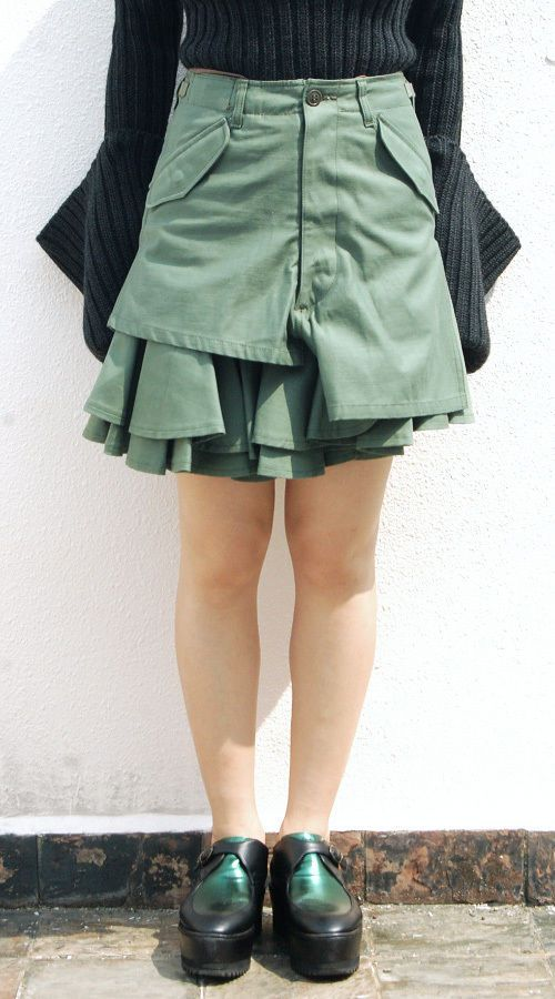 JUNYA Watanabe Comme Des Garcons FW2010 Military Mini Frilly Skirt Sz XS | eBay