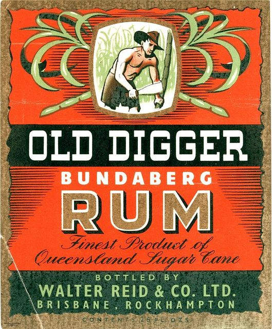 Old Digger Bundaberg Rum label, State Library of Queensland.