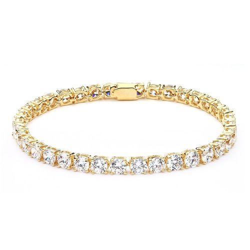 Cubic Zirconia Jazz Tennis Bracelet 6mm Gold Plated