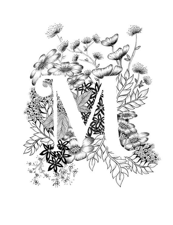 Letter M print - Alphabet, Calligraphy, Typography, Monogram, Flowers - Black and White ink art print