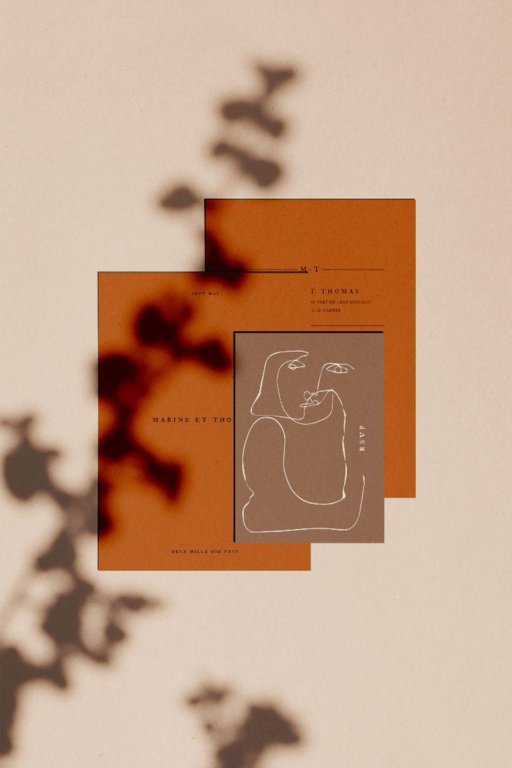 Terracotta wedding invitation