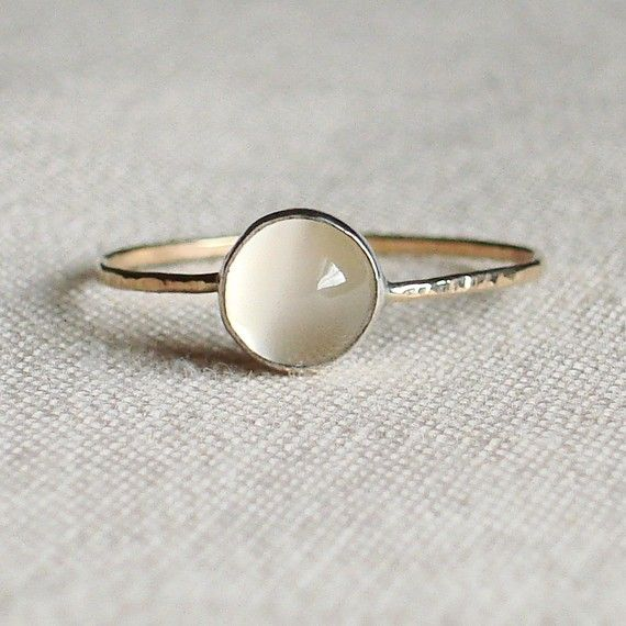 Moon on a Golden Thread - Sweet and Simple Hammered Stacking Ring - Rose or Yellow Band - Delicate Jewelry