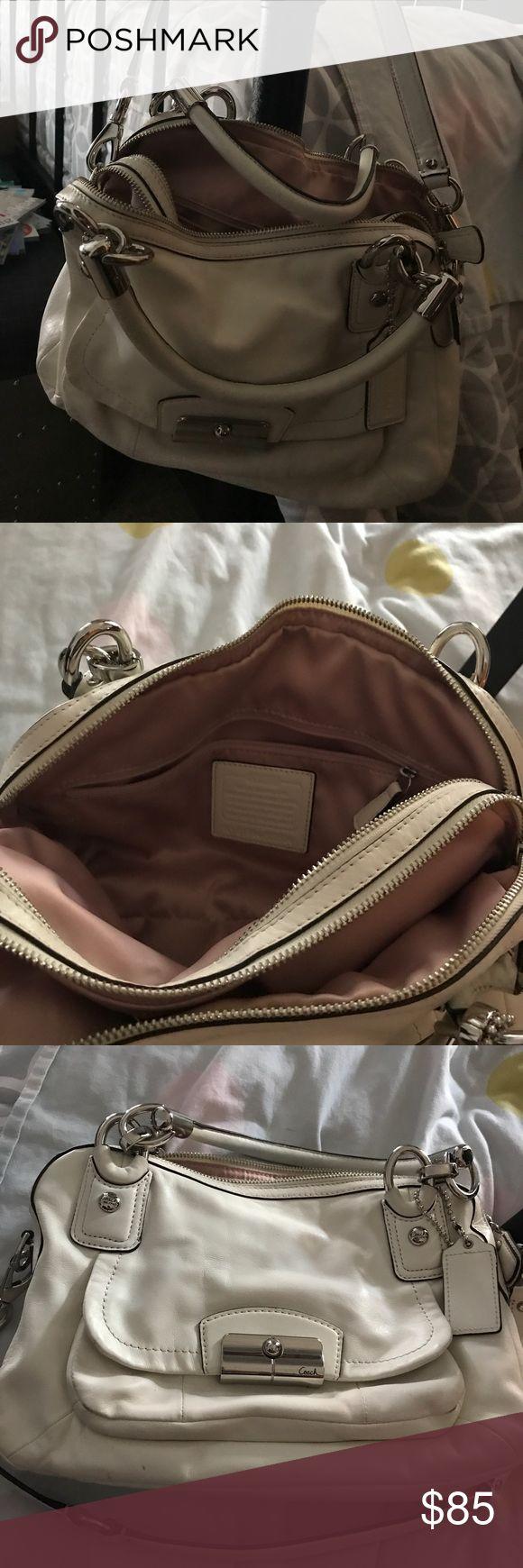 Coach cream color leather handbag Coach soft leather cream colored handbag Coach Bags Satchels