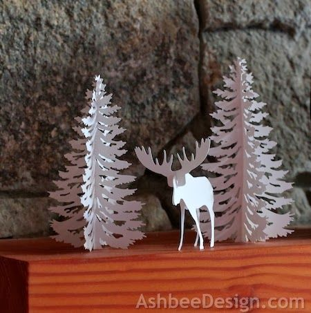 Ashbee Design Silhouette Projects: Moose and Tree • Silhouette Tutorial.  They also have houses, etc.