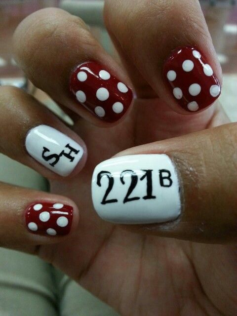Sherlock Holmes nail art I would do purple nails instead of red and white polkadots