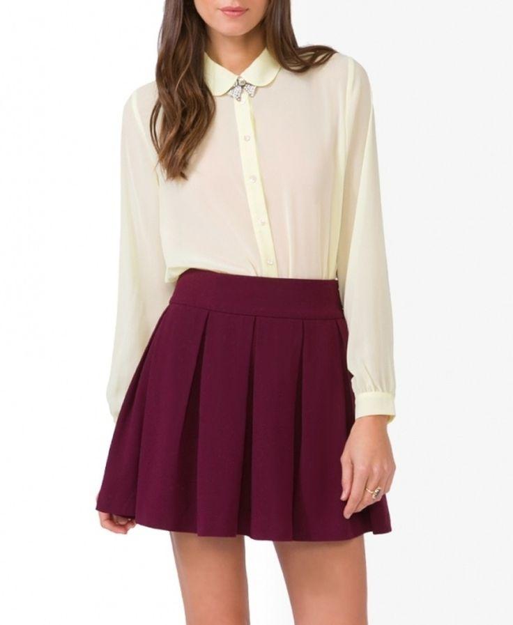 Bordeaux skater skirt with a white blouse