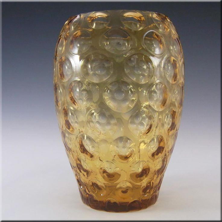 Borske Sklo 1950's Amber Glass Optical 'Olives' Vase - £20.00