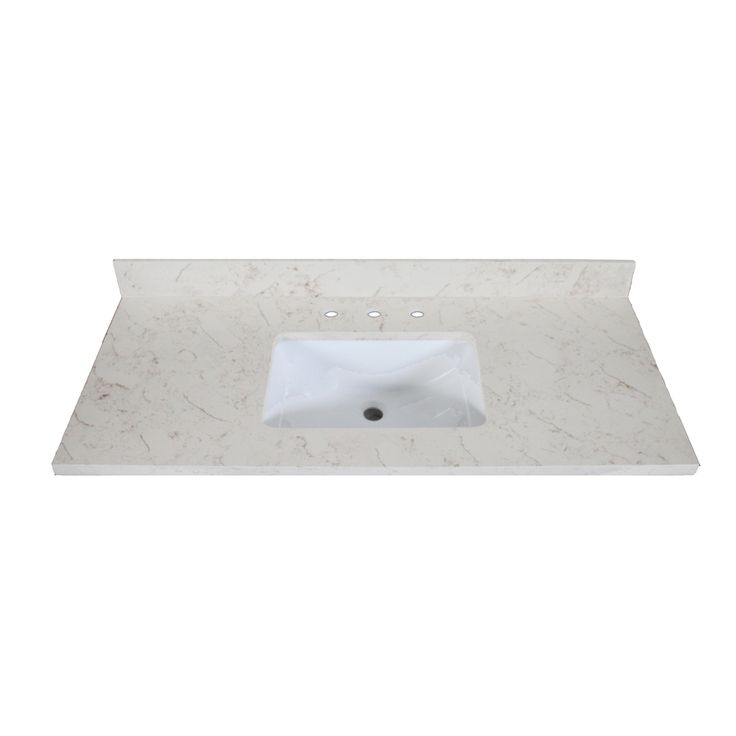 Allen roth eagle marbled beige quartz undermount single for Bathroom quartz vanity tops