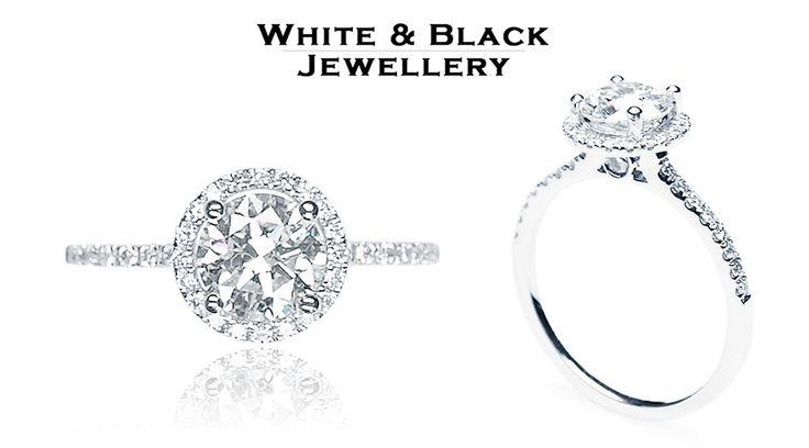 Gyémánt eljegyzési gyűrű egy karátos hófehér gyémánttal - Diamond engagement ring with 1 carat gemstone