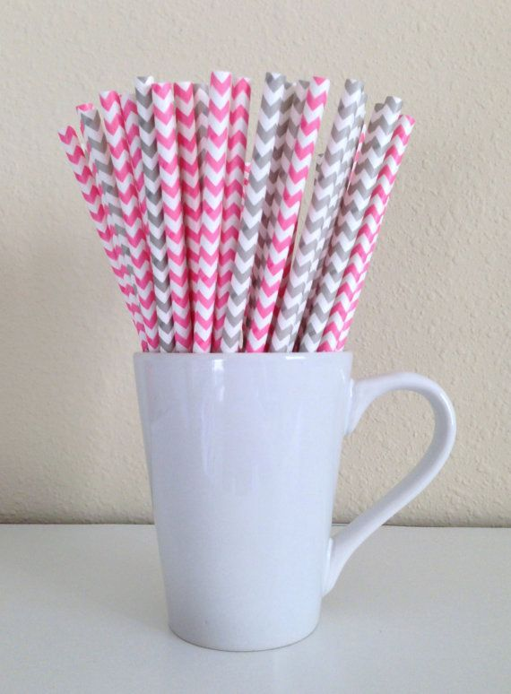 Paper Straws - Pink and Gray / Grey and White Chevron Party Straws (25) and DIY Printable Drink Flags / Wedding / Birthday / Baby Shower on Etsy, $3.80