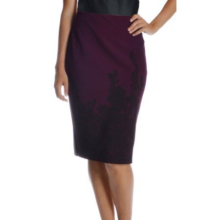 NYCC Women's Scuba Crepe Skirt with Lace Print Detail