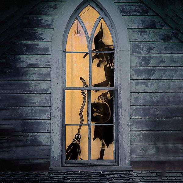 Improvements Scenic Lace Panel Halloween Window Decoration-Witch (52 BAM) ❤ liked on Polyvore featuring home, home decor, holiday decorations, halloween decor, halloween home decor, holiday window decorations, holiday door decorations and holiday window decor
