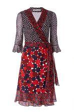 2017 mulher do verão com decote em v de bolinhas seda leite impressão patchwork chiffon wrap dress senhoras plissadas curtas vestidos(China (Mainland))