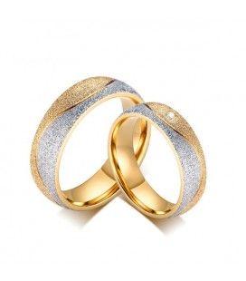 nemesacél gyűrű, Csillogó szemcsés női karikagyűrű nemesacélból