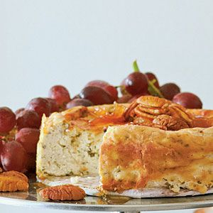 I am definitely making this!  Roquefort Cheesecake with Pear Preserves and Pecans | MyRecipes.com