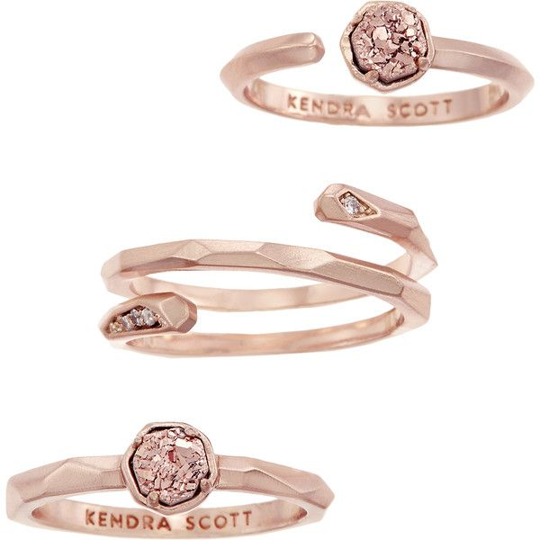 Warren Ring Set in Rose Gold Drusy - Kendra Scott Jewelry (€45) ❤ liked on Polyvore featuring jewelry, rings, rose gold jewellery, pink gold jewelry, druzy ring, red gold jewelry and drusy jewelry