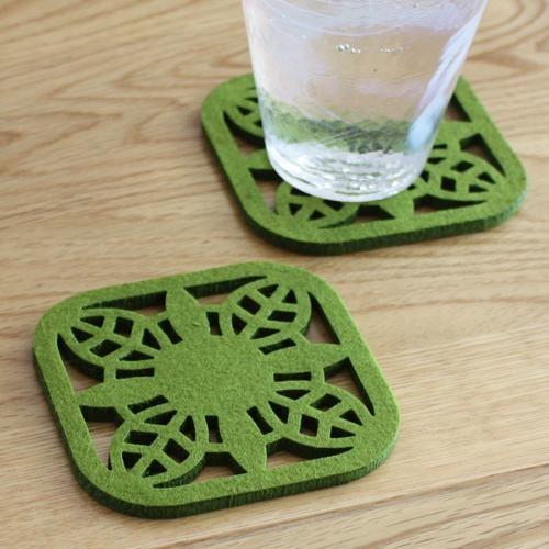laser-cut felt coaster - four pack - lime green floral