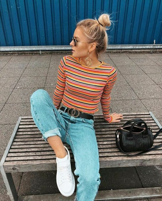 Stylish double: Stripes + jeans