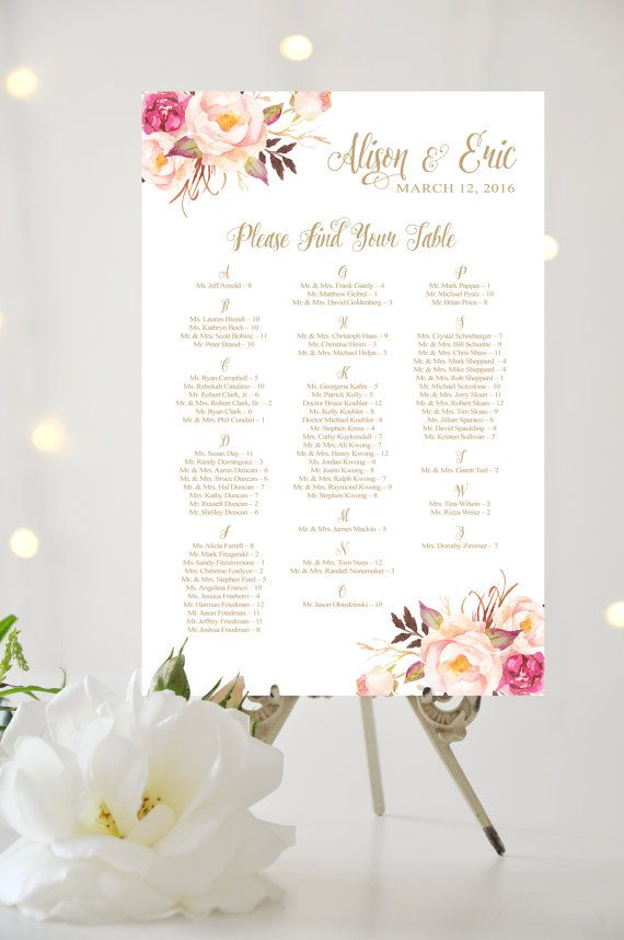 THIS IS NOT A TEMPLATE - you provide your guest names in alphabetical order, I create and you print !!  This listing is for an oversize (poster size) Seating Chart as shown above - alphabetical listings - which uses Pretty antique gold script with Romantic Blooms floral elements.  THIS IS NOT AN INSTANT DOWNLOAD! A hi-res print file with your personal details will be emailed within 96 hours (4 business days) of your payment being received.  Please send your names, date and guest names in…