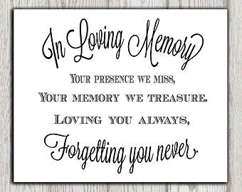 Memorial sign to use in loving memory of someone special. INSTANT DOWNLOAD in 2 different sizes.  ***** If you would like to customize this print, then please purchase the link below. https://www.etsy.com/uk/listing/401135415/personalized-wedding-memorial-poem-print?ref=shop_home_active_1 *****  You will get 2 Jpg files : 1 x (8x10 inch) INSTANT DOWNLOAD - Jpg file - High resolution 1 x (5x7 inch) INSTANT DOWNLOAD Jpg file - High resolution   NO PHYSICAL PRODUCT WILL BE SHIPPED!  This print…