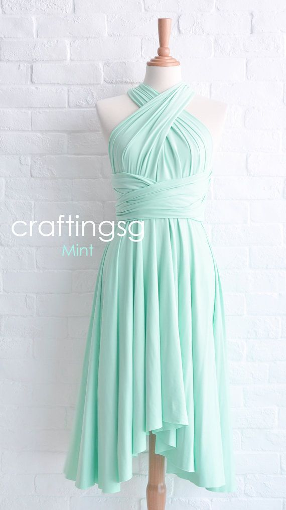 Bridesmaid Dress Infinity Dress Mint Knee Length by craftingsg