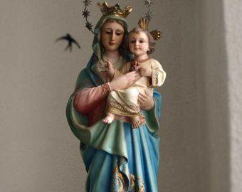 ファティマの聖母マリア像と3人の子供達 オリーブの樹 カトリック 宗教彫刻 ポルトガル by GliciniaANTIQUE