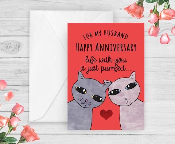 Cat Husband Anniversary Card Cat Couple Perfect Husband Etsy Anniversary Cards For Husband Anniversary Cards Cat Birthday Card