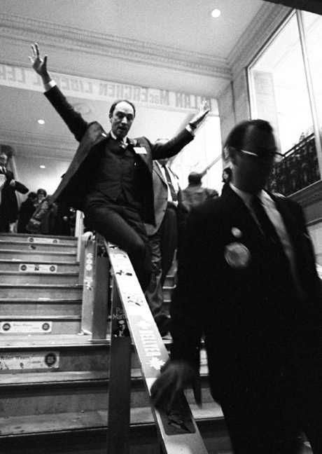 "Above photo by Ted Grant, shot in 1968, is a classic of Canadian photojournalism. Pierre Trudeau was running to succeed Lester Pearson as Liberal party leader, and prime minister. The press corps waited outside as Trudeau left Ottawa's Chateau Laurier Hotel.  Grant however was inside, and heading down the stairs in front of Trudeau when he heard laughter. Turning around, he saw Trudeau sliding down the railing. Of three photos he took of that moment, only one was in-focus. ""The third one, he…"