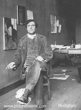 MODIGLIANI Amedeo  (1884-1920) Pendant la guerre, l'artiste est réformé pour ses problèmes de santé, Modigliani cesse la sculpture et s'isole de ses amis peintres, il s'adonne uniquement à la peinture. Max Jacob lui présente, Paul Guillaume qui devient son marchand jusqu'en 1916, année où il expose dans l'atelier d'Émile Lejeune à Paris, 15 peintures et trois sculptures, il rencontre Léopold Zborowsky, poète polonais en exil, qui s'occupe de la diffusion de son oeuvre.