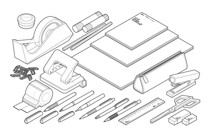Craft Design Technology stationery items. Illustration by