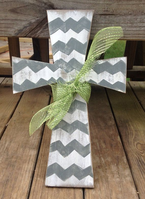 Chevron Hand Distressed Painted Wood Cross for Wall or Door on Etsy