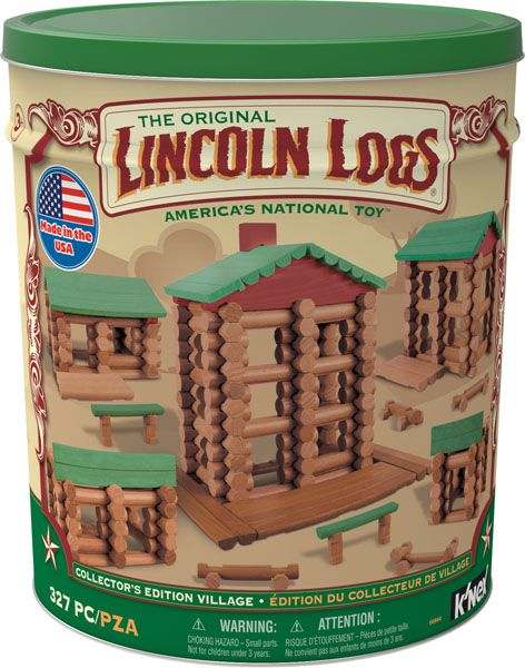 K'NEX Lincoln Logs Collectors Edition Village Set - Collector's Edition Village of this nostalgic set of LINCOLN LOGS®, just like you remember! One of the biggest Lincoln Logs set ever created, including real wood Lincoln Logs! This set is 100% made in the U.S.A and includes 327 LINCOLN LOGS® pieces. Packaged in a large, collectible tin which provides fast and easy clean-up. Most models can be built one at a time.