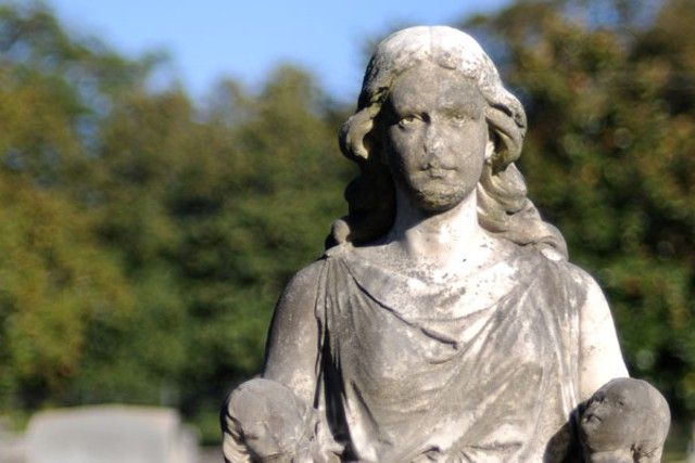 Haunted Atlanta...The statue of Mary Meinert in St. James Episcopal Cemetery in Marietta is believed to weep tears of blood at midnight.