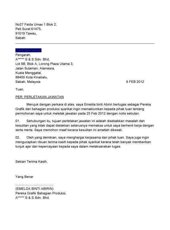 contoh surat berhenti kerja bahasa melayu