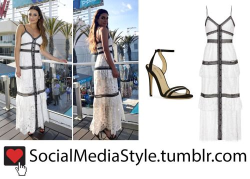 Buy Lea Michele's Black and White Lace Dress and Black Sandals, here!