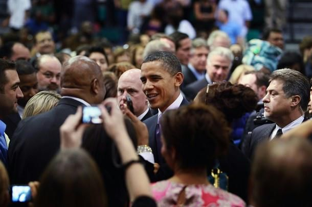 U.S. President Barack Obama greets people as he visits Miami Central Senior High School on March 4, 2011 in Miami, Florida. The visit focused on how the future in education will require investments that promote a shared responsibility among everyone involved, reform at the state and local levels and focus on achieving results.