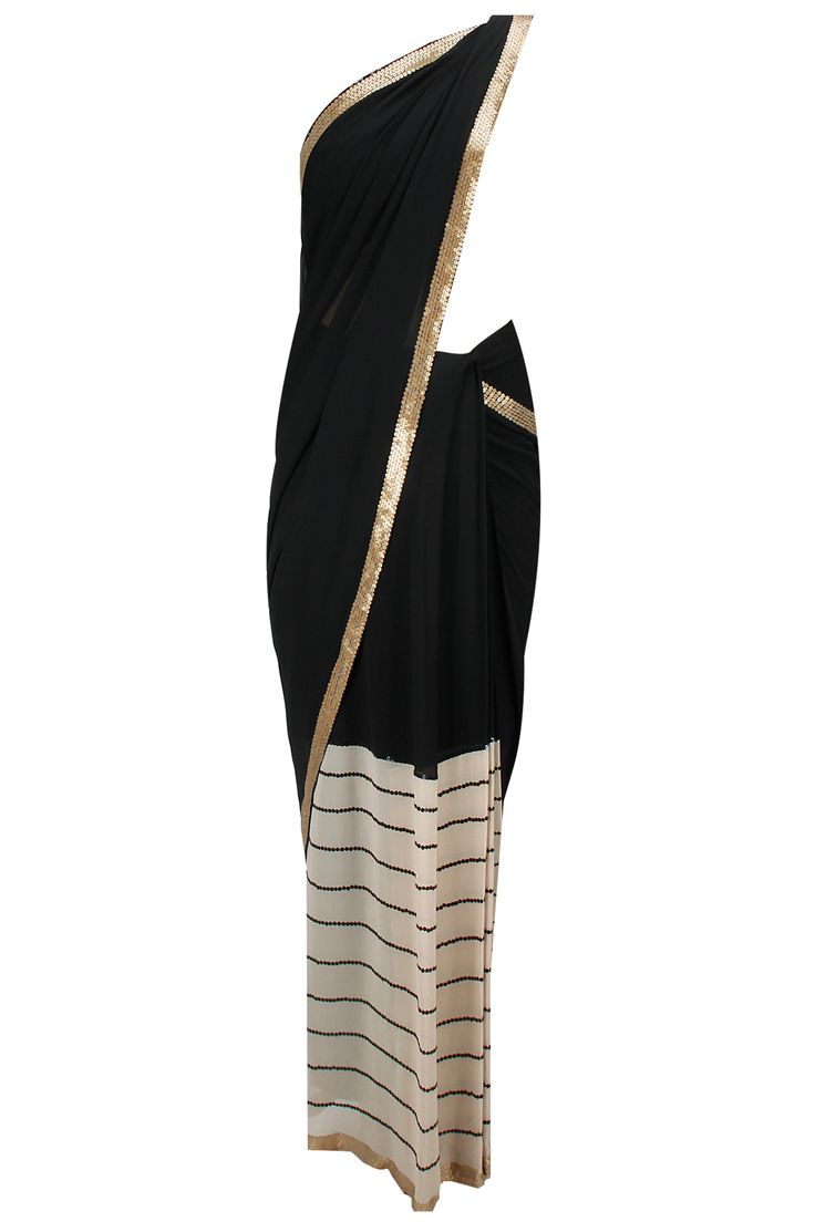 Black silk and striped georgette sari with sequin embellished blouse available only at Pernia's Pop-Up Shop.