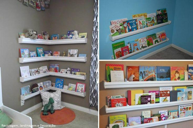 Reutilize – calha que viram estante para livros   Mãe do Ano
