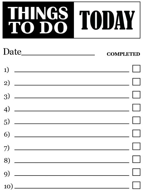 Things To Do Checklist Template  NinjaTurtletechrepairsCo