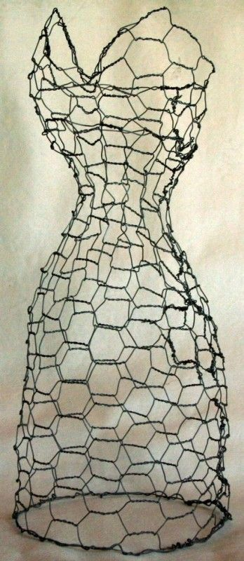 chicken wire dress form ... make one of these for the garden and would love great with morning glories on it
