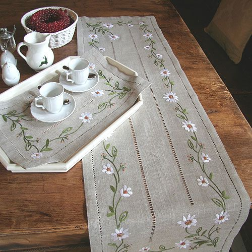Beautiful embroidered linen runner . . . the link is no longer good, but the pic is so pretty I had to repin it! :)