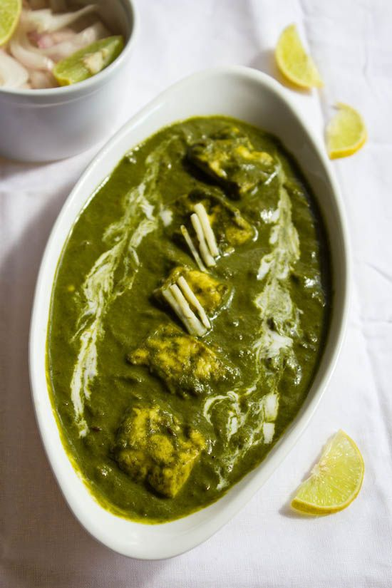 palak paneer – one of the most popular indian dishes. soft paneer cubes cooked in a smooth spinach curry.  #paneer #cottagecheese