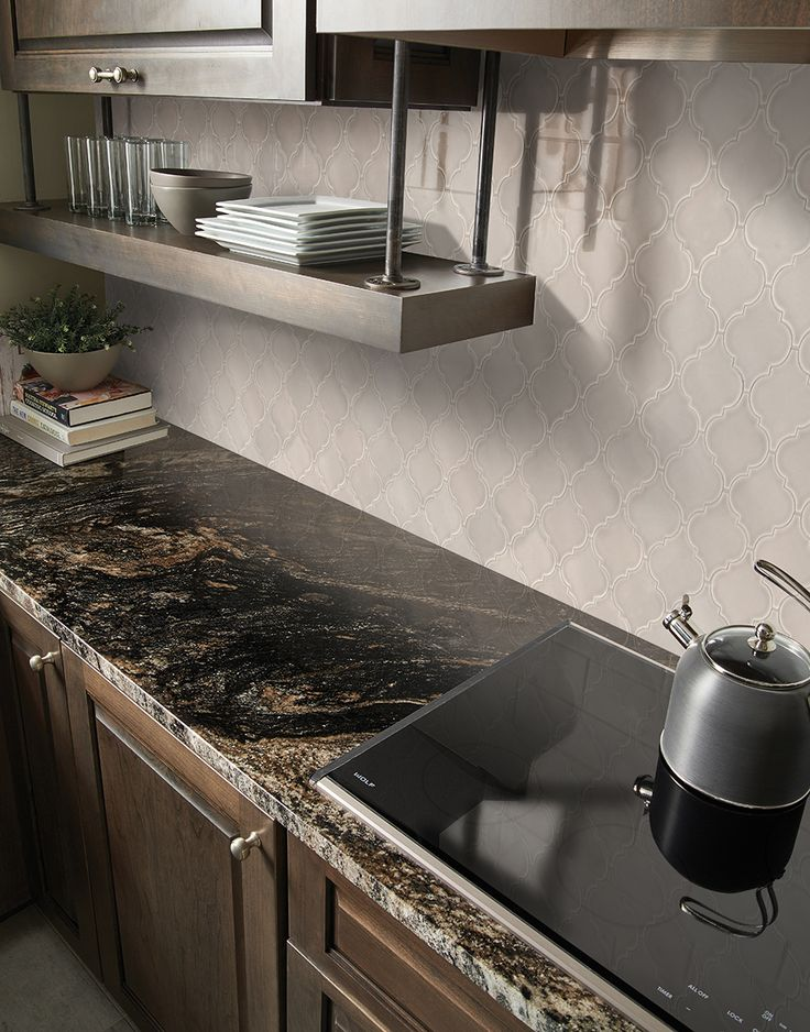 Portico Pearl Arabesque 8mm Ceramic wall tiles, Kitchen